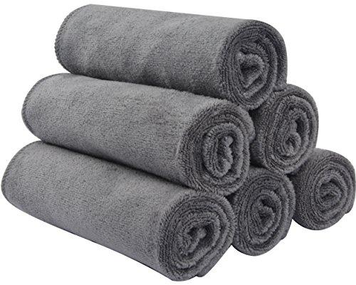 Sinland Microfiber Facial Cloths Fast Drying Washcloth 12inch x 12inch Grey 6 pack …