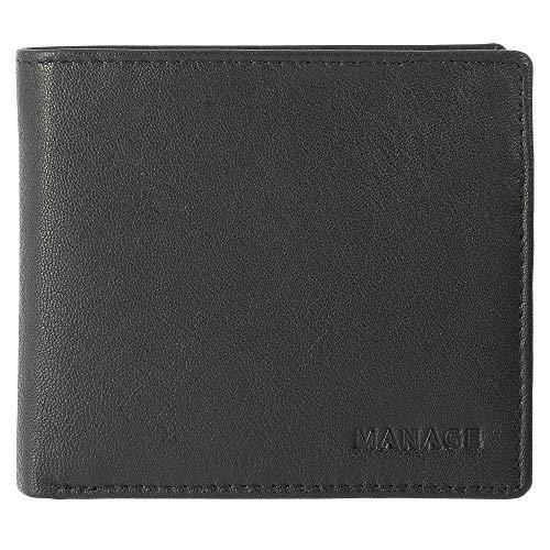 Manage Herren Geldbörse Scheintasche 61302 Leder B10,5 x H8,5 cm x T2 cm, Farbe:schwarz