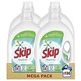 Skip - Detergente líquido higiénico x136, purifica y protege, resultados impecables incluso en ciclo corto - 136 lavados (lote 4 x 34 lavados)