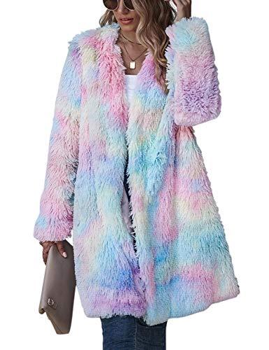 SOMTHRON Jacke Damen Mäntel,Winter Warmer Mantel Rainbow Hoodie Pullover lang Strickjacke Teddy Fleece Cardigan Casual Winterjacke Revers Winter Oberbekleidung (PI-L)
