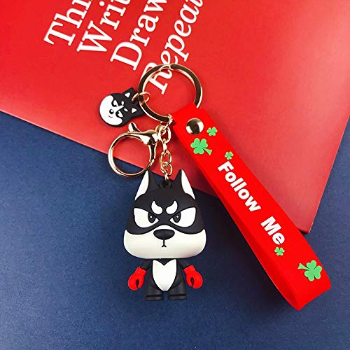 Goqiwep Key chain Fashion Cartoon boxing Husky car keychains accessories cute little dog gift key chian bag pendant doll machine doll (Color : 1)