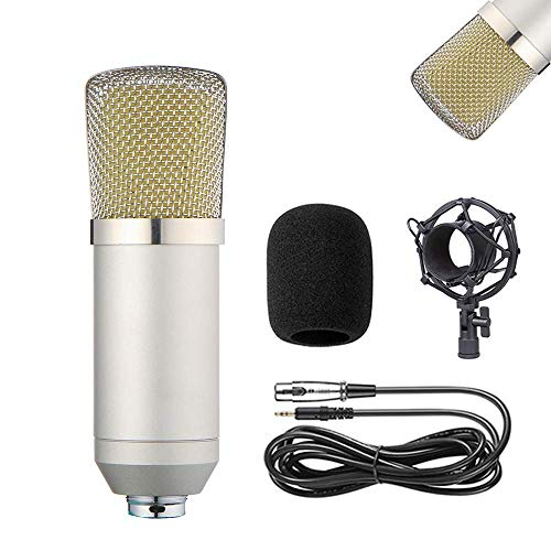 WLGQ Kit de micrófono de Condensador BM-700 Mic Set Micrófono para Juegos, Podcast PC Mic a 3.5 mm con micrófono Ajustable, Soporte de Choque, para grabación de Estudio y transmisión (Plata)