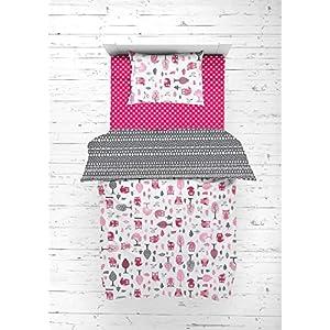 Bacati Owls Girls Cotton 4 Pc Toddler Bedding Set, Pink/Grey