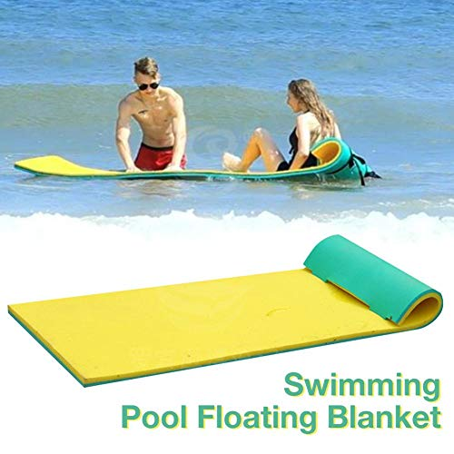 "67""x 22"" Floating Water Pad Mat, with Rolling Pillow Design, Bouncy Tear-Resistant XPE Foam, Roll-Up Floating Island for Pool Lake Ocean Boat"