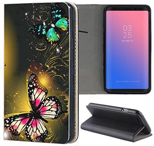 Samsung Galaxy S5 / S5 Neo Hülle Premium Smart Einseitig Flipcover Hülle Samsung S5 Neo Flip Case Handyhülle Samsung S5 Motiv (1464 Schmetterling Pink Schwarz Grün)