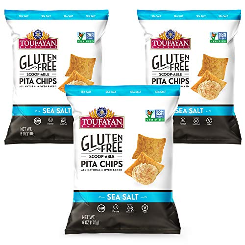 Toufayan Bakeries, Sea Salt Gluten Free Pita Chips, Certified Gluten Free, Vegan, Non-GMO, Oven Baked and All-Natural (6oz Bag, Pack of 3)