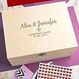 Personalised Wedding Anniversary Gift Keepsake Box - Memory Box - Valentines Gifts for Couples - 3 Wooden Boxes to Choose From! - Personalised anniversary gift