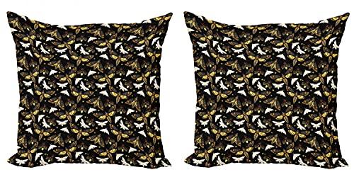 ABAKUHAUS Lucciola Federe Cuscini Set di 2, Insetti Volanti misteriosi, Stampa Digitale Fronte-Retro con Accento Moderno, 45 cm x 45 cm, Multicolore