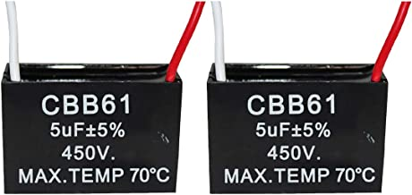 CompStudio 2Pcs 5UF 450V AC CBB61 Ceiling Fan Capacitor 2 Wire 50/60Hz