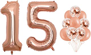 40 inch Jumbo Rose Gold Foil 15 Balloons Confetti 15 Balloons for 15th Birthday Party Supplies Anniversary Events Decorations and Graduation Decorations (Confetti15)