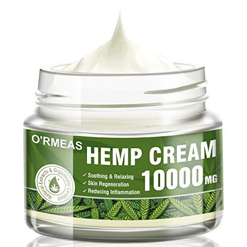 Hanf Creme Hemp Oil Cream zur Schmerzlinderung –Cannabisöl Hanföl Extrakt & Hanf Salbe Komplex 10000 MG/ 4 oz- Emu-Öl, Aloe Vera, Menthol, Rosmarinöl, Ideal bei Muskel-, Rücken- und Knieschmerzen