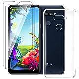 HYMY Hülle für LG K40S Smartphone + 2 x Schutzfolie Panzerglas - Transparent Schutzhülle TPU Handytasche Tasche Durchsichtig Klar Silikon Hülle für LG K40S (6.1