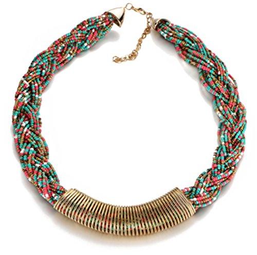 Lovely Lauri Statement Halskette Choker Collier Perlen bunt gedreht