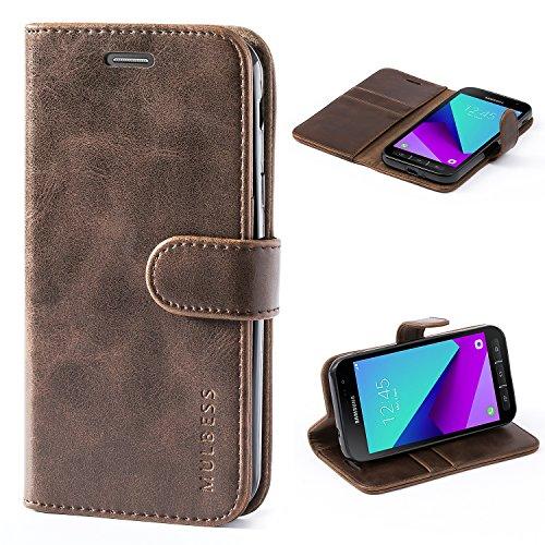 Mulbess Handyhülle für Samsung Galaxy XCover 4 Hülle, Leder Flip Hülle Schutzhülle für Samsung Galaxy XCover 4 / 4s Tasche, Vintage Braun