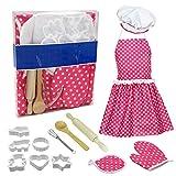 Kinder KitchenCooking Backen Anzug Spielzeug Set Pretend Kleidung Schürze Handschuhe Kinder Küchen Simulation Chef-Kochen Backen-Werkzeuge Küche für Heimtextilien
