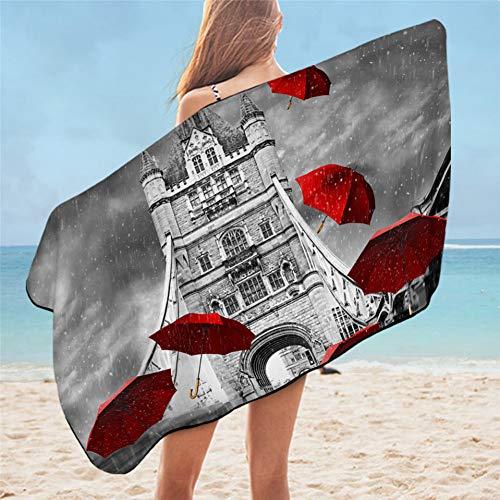 YULIANGE Toalla de Playa 3D Toalla De Baño con Sombrilla Roja Toalla De Playa De Londres Inglaterra Tower Bridge sobre El Río Támesis Alfombra De Picnic Manta Fina De Microfibra