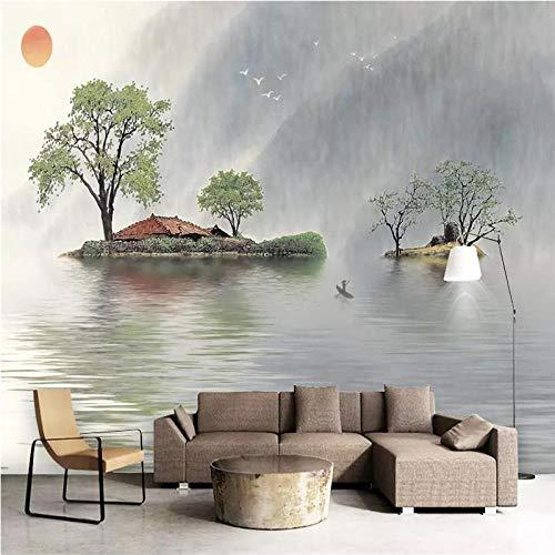 Papel tapiz 3d personalizado nuevo estilo chino reflexión del estado de ánimo tinta fresca paisaje sofá pared de fondo gran mural-400 * 280cm