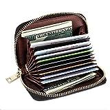 Portefeuille en Cuir, RFID Blocage Porte Carte de Crédit, Zip Multi-usages Credit Porte Cartes pour Femmes et Hommes, 12 Fentes pour Cartes, Coffret Cadeau (Noir)
