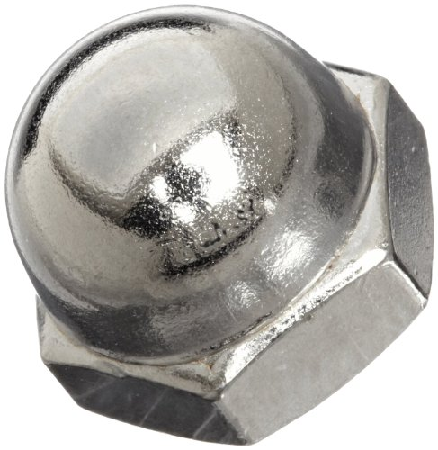 Steel Acorn Nut, Nickel Plated Finish, Right Hand Threads, #6-32 Threads (Pack of 100)