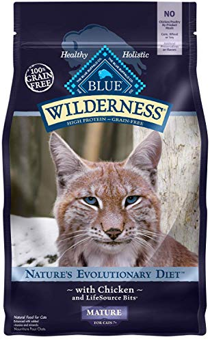 Blue Buffalo Wilderness High Protein Grain Free Natural Mature Dry Cat Food, Chicken 5-lb