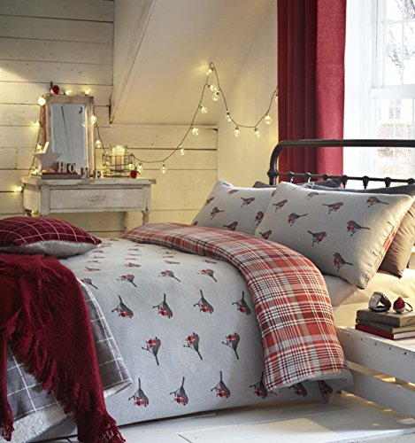Christmas Winter Robins Tartan Grey RED Brushed Cotton King Size DUVET COVER