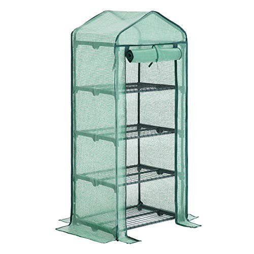 SONGMICS 4-Tier Mini Greenhouse Planting Shed with Flowerpot Shelves 69 × 49 × 158 cm Green GWP04L