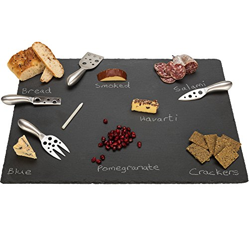 "20"" x 14"" Extra Large Slate Cheese Board and Stainless Steel Cutlery Set - Includes 4 Knives plus a Soap Stone Chalk, Perfect Cheese Platter Slate Board, Wine and Cheese Serving Board Brie Swiss"