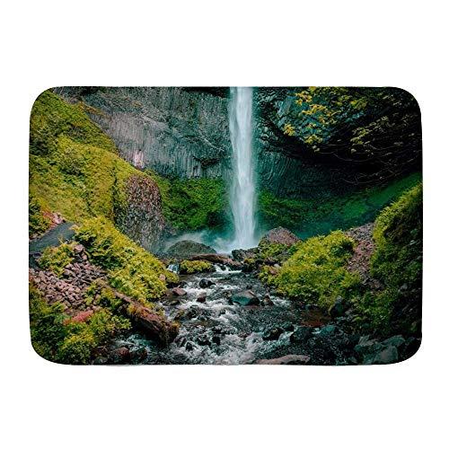 Throwpillow Alfombrilla De Baño Antideslizante Cascada Corriente Que Fluye Montaña Bosque Verde Naturaleza Paisaje Impresión De Imagen Alfombra Lavable a Máquina