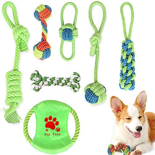 YeenGreen Cuerda de Juguete para Perros, 7 Pcs Set de Juguetes para Perros, Juguetes Algodón Perro, Juguetes Perros Indestructibles Juguetes Perros Inteligencia para Medianos Perros Pequeños