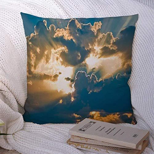 Fundas de almohada decorativas Decoración Cuadrada dramática con hermoso paisaje celestial Nubes solares Belleza Clima Naturaleza Sunscape Texturas Funda de almohada Funda de cojín para 18×18pulgada