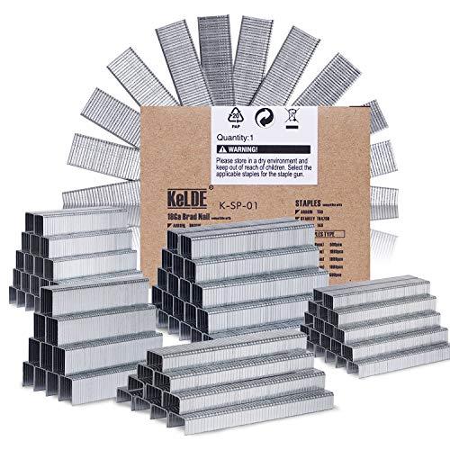 KeLDE 5000 Piece Heavy Duty Staple Kit, Fastener Flat Crown Staple for Arrow T50 / Stanley TRA700 / Rapid 140, Include 1/4, 5/16, 3/8, 1/2, 9/16 Inch, 6, 8, 10, 12, 14 mm, and 5/8 Inch, 15mm Brad Nail