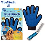 True Touch Five Finger Deshedding Glove- Premium Version, Gentle Grooming Glove Great Cats & Dogs with Long or Short Fur- Includes 1 Authentic Right-Hand True Touch Glove & 1 Lint Roller