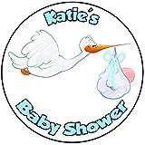 Decoración para tarta de baby shower, redondo, círculo de 20 cm, diseño de bebé (cigüeña)