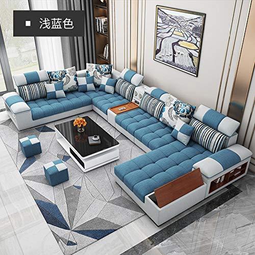 Winpavo Sofas & Sofas Sofa Corner Sofa Set U-Form Wohnzimmer Sofa Set Stoff Sofa-C.