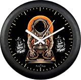 Risty Shop Analog Big Designer Music DJ Wall Clock Smooth/Sleek/Modern Quartz Movement Black Polished Plastic Case,Clear Glass Lense for Home/Living Room/Gift/Bedroom/Kitchen/Office 12x12inch