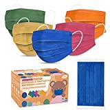 Kids Face Mask Individually Wrapped, Disposable Face Masks Multicolored for Boys and Girls, 3-ply, 5.7