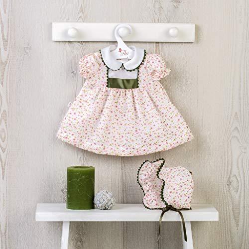 Muñecas Así Vestido para bebé Leo. Vestido bámbula de Flores Rosa y picunela Verde con gorrito.