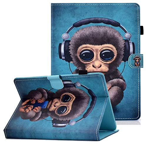 Coopts 7 inch Tablet Universal Folio Case, Anti-Shock Card Holder Stand Case for Samsung Tab A 7.0/ Tab 3 7.0/ Tab 2 7.0 & 7.0 Plus/Fire 7/ MediaPad T3 7'/ Voyager 7'/ EGQ307 and More, Music Monkey