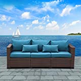 Patio PE Wicker Couch - 3-Seat Outdoor Brown Rattan Sofa Seating Furniture with Peacock Blue Cushion