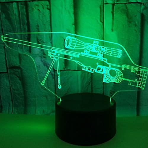 Jinson well Pistola 3D, lámpara de ilusión óptica, luz nocturna, 7 cambios de color, interruptor táctil, mesa de escritorio, lámpara decorativa con USB, juguete acrílico