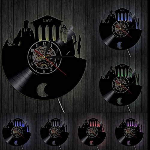 szhao Abogado en la Ley Verdad Arte de la Pared Oficina de Abogados Juez Corte Decoración Reloj de Pared Ley Mujer Escalas de Justicia Reloj de Pared con Disco de Vinilo