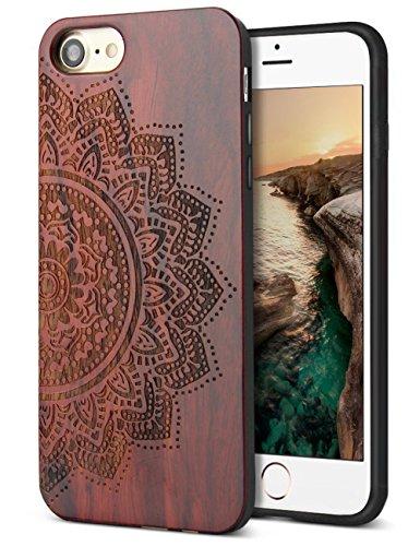 YFWOOD Holzetui Ersatz für iPhone 7 iPhone 8 SE 2020 Hülle Fall Handgefertigte Holzmuster Carving Hard Bumper Skin Hybrid Schutzhülle Hülle