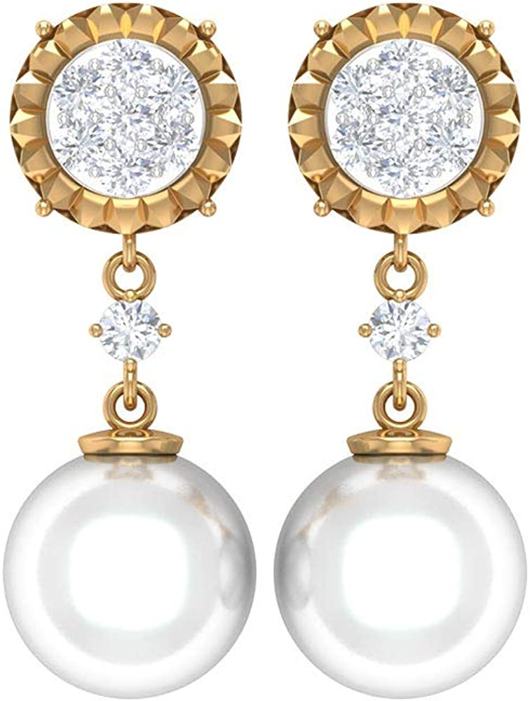 Art Max 76% OFF Deco High quality Dangle Earrings Pearl Freshwa Drop 8 MM CT