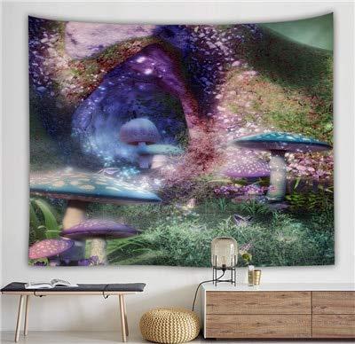KHKJ Gran Tapiz Colgante de Pared Seta mágica Paisaje Tapiz de Pared psicodélico Bosque Natural Alfombra de Pared decoración del hogar A10 200x180cm