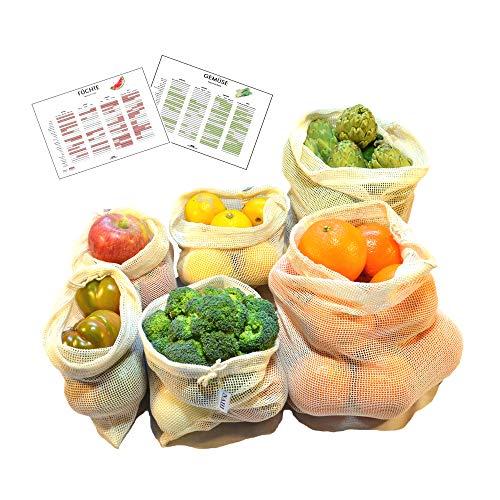 Bolsas Reutilizables de Algodón para Fruta y Verdura | Set de 6 Mallas de Algodón Sin Plástico (2S, 2M, 2L) y 2 Calendarios de Temporada | Bolsas Ecológicas con Indicación de Peso| Zero Waste| NAHI |