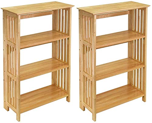 Winsome Wood Foldable 4-Tier Shelf, Natural (Pack of 2)