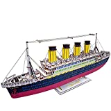 ZUOQUAN 3D Puzzle, Titanic, 3D Rompecabezas de Madera Kit de Construcción Sin Pegamento, Divertido Regalo para niños y Adultos, 371 Piezas Grandes