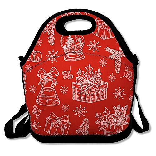 Reusable Lunch Bag for Men Women Snowflake Red Pattern Christmas Boots Bell Star Holidays Year Vintage Celebrations December Drawing Insulated Lunch Tote for Travel Office School