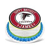 Cakecery Atlanta Falcons Edible Cake Topper Image Personalized Birthday Sheet Party Decoration Round