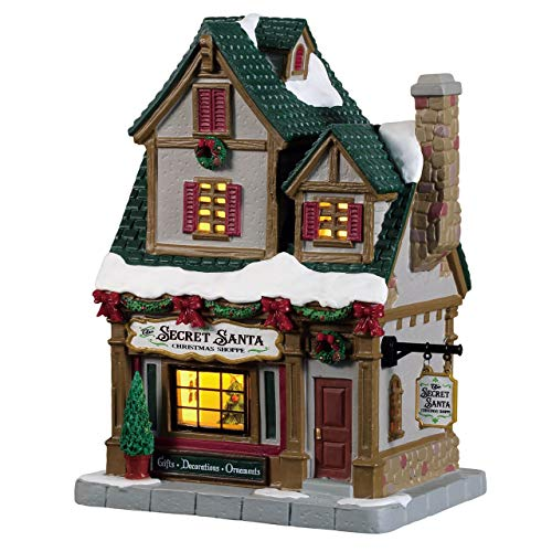 Lemax 95512 The Secret Santa X'mas Shoppe, Caddington Village Collection, Porcelain Colorful Decorated Miniature Lighted Building, X'mas Decor/Gift/Collectible, On/Off Switch, 7.28' x 5.91' x 4.13'